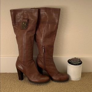 "Nine West barely worn Sz 8 3"" heeled leather boots"